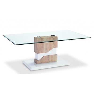 Product photograph showing Milton Glass Coffee Table White And Natural