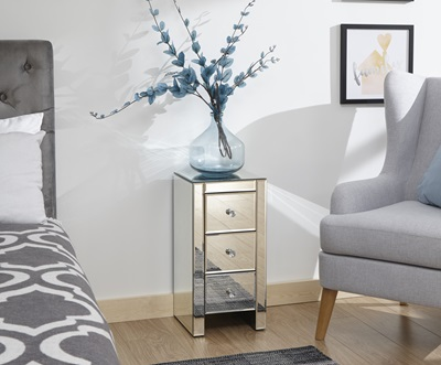 Product photograph showing Mirrored 3 Drawer Slim Chest