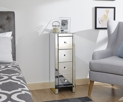 Product photograph showing Mirrored 4 Drawer Slim Chest