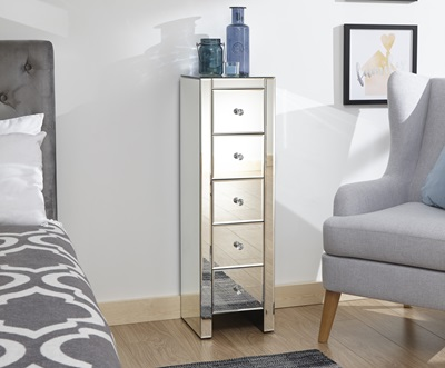 Product photograph showing Mirrored 5 Drawer Slim Chest