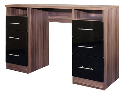 GFW Modular Dressing Table Black Gloss and Walnut Dressing Table