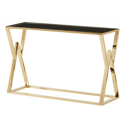 Product photograph showing Mombasa Gold Black Glass Console Table