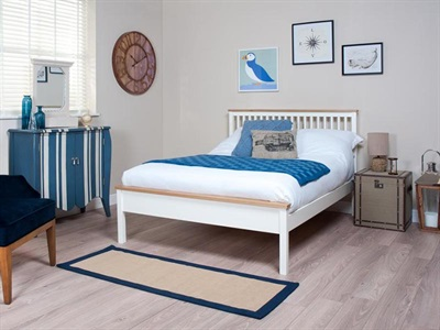 Silentnight Montreal 4 6 Double White Slatted Bedstead Wooden Bed