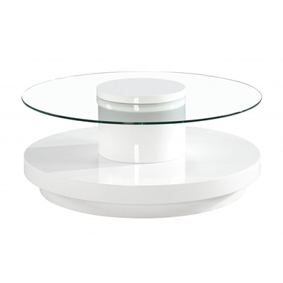 Product photograph showing Nebula Coffee Table In White High Gloss
