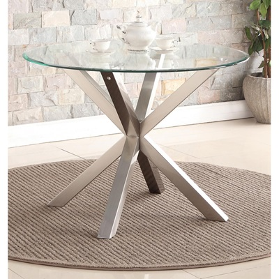 Product photograph showing Nelson Dining Table With Brushed Stainless Steel