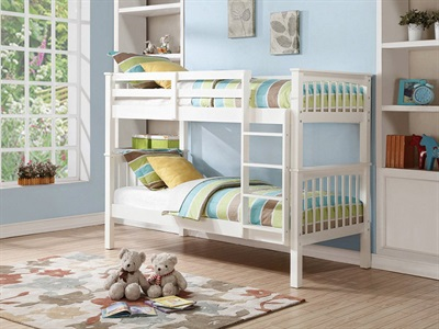 GFW Novaro Bunk Bed 3 Single White Bunk Bed