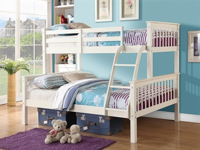 GFW Novaro Triple Sleeper 3 Single White Bunk Bed