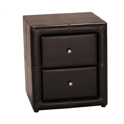Product photograph showing Odessa 2 Drawer Pu Faux Leather Nightstand