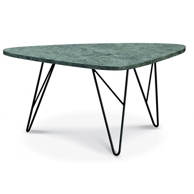Product photograph showing Ontario Coffee Table Stone With Black Metal Legs