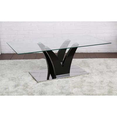 Product photograph showing Opal Glass Coffee Table Black High Gloss