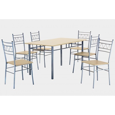 Product photograph showing Oslo Large Rectangular Dining Set With 6 Chairs Silver And Beech