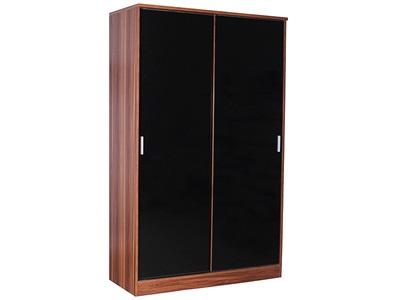 GFW Ottawa - Black Gloss - Wardrobe (Sliding Door) Black Gloss and Black Oak Wardrobe