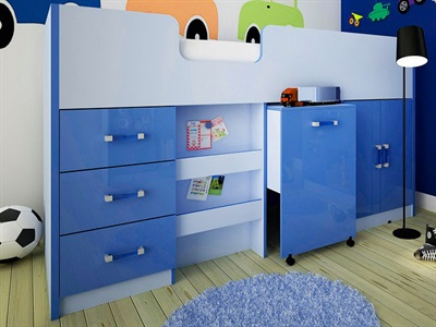 GFW Ottawa Blue Mid-Sleeper (Inc. Workstation) 3 Single 2 Tone Blue Cabin Bed