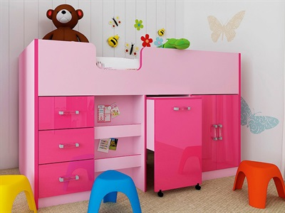 GFW Ottawa Pink Mid-Sleeper (Inc. Workstation) 3 Single 2 Tone Pink Cabin Bed