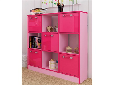GFW Ottawa 2-Tone Pink 3x3 Storage Unit  2 Tone Pink Drawer Chest