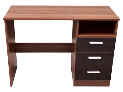 GFW Ottawa 3-Drawer Black Study Desk Black Gloss and Walnut Desk