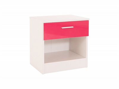 GFW Ottawa - Pink Gloss (1 Drawer) Pink Gloss and white Bedside Chest