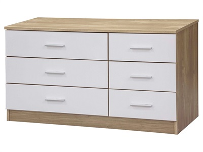 GFW Ottawa - White Gloss - Chest (6 Drawer) White Gloss and White Drawer Chest