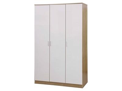 GFW Ottawa - White Gloss - Wardrobe (3 Door) White Gloss and White Wardrobe