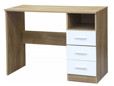 GFW Ottawa - White Gloss - Study Desk (3 Drawer) White Gloss and White Desk