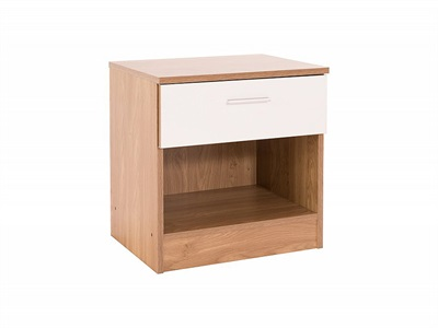 GFW Ottawa - White Gloss - Bedside Table (1 Drawer) White Gloss and White Bedside Chest