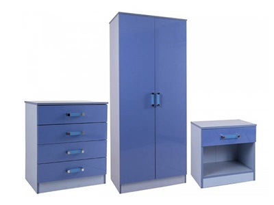 GFW Ottawa 2-Tone Blue 3-Piece Set 2 Tone Blue Bedroom Set