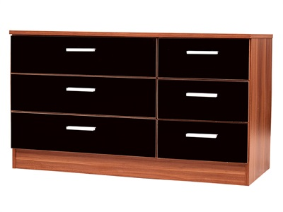 GFW Ottawa 6-Drawer Black Chest Black Gloss and Walnut Drawer Chest