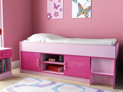 GFW Ottawa 2-Tone Pink Cabin Bed 3 Single 2 Tone Pink Cabin Bed