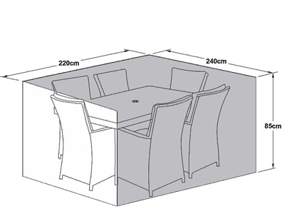 Product photograph showing Outdoor Cover For 6 Seat Rectangular Dining Set