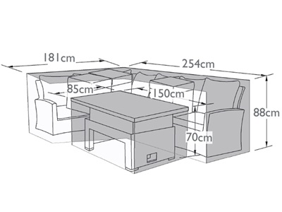 Product photograph showing Outdoor Cover For Large Corner Dining Sofa Set