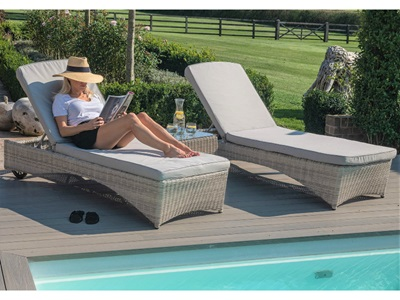 Product photograph showing Oxford 3 Piece Sunlounger Set