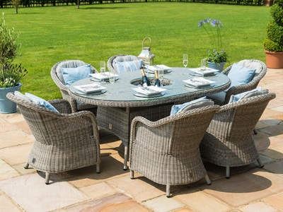 Product photograph showing Oxford 6 Seat Oval Ice Bucket Dining Set With Heritage Chairs And Lazy Susan