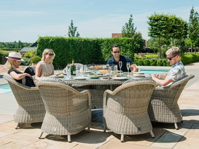 Product photograph showing Oxford 8 Seat Round Fire Pit Dining Set With Heritage Chairs And Lazy Susan