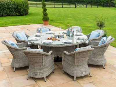 Product photograph showing Oxford 8 Seat Round Ice Bucket Dining Set With Heritage Chairs And Lazy Susan
