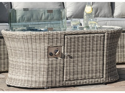 Product photograph showing Oxford Oval Fire Pit Coffee Table