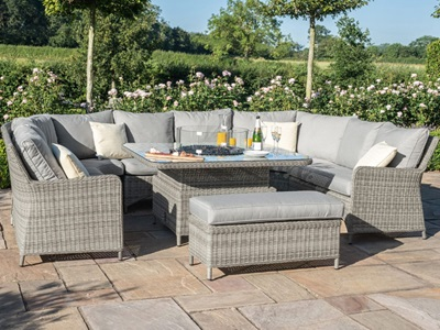 Product photograph showing Oxford Royal U-shaped Sofa Set With Firepit Table