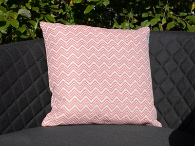 Product photograph showing Pair Of Outdoor Scatter Cushion - Polines Red