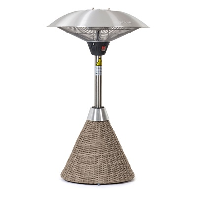 Product photograph showing 2 1kw Table Top Electric Patio Heater With Rattan Base
