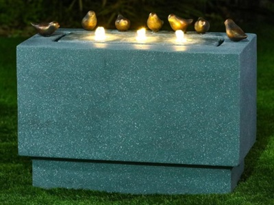 Product photograph showing Paz Water Feature With 3 Leds - Light Green