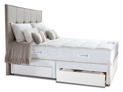 Sealy Pearl Elite Divan Set 5 King Size Zip And Link Heather Platform Top - No Drawers Divan