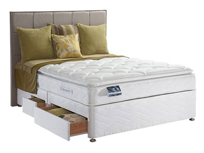 Sealy Pearl Luxury Divan Set 5 King Size Zip And Link Platform Top - No Drawers Divan