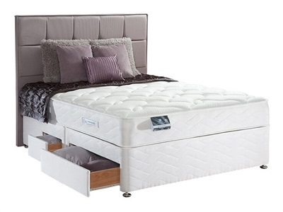 Sealy Pearl Memory Divan Set 5 King Size Zip And Link Platform Top - No Drawers Divan