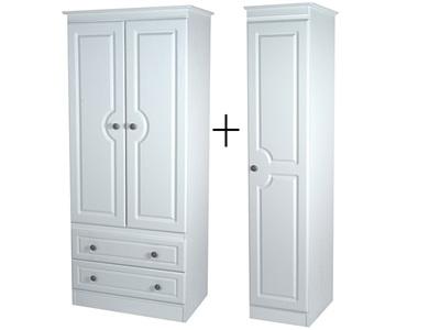 Furniture Express Pembroke Tall Triple 2 Drawer Robe White 3 Door Wardrobe