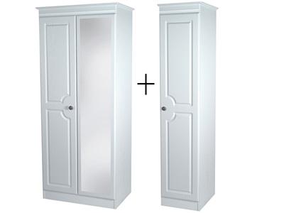 Furniture Express Pembroke Tall Triple Mirror Robe White 3 Door With Mirror Wardrobe