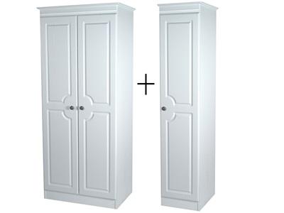Furniture Express Pembroke Tall Triple Plain Robe White 3 Door Wardrobe