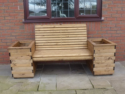 Product photograph showing High Back 2 Seat Planter Bench
