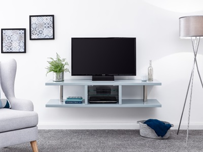 Product photograph showing Polar High Gloss Wall Mounted Led Tv Unit