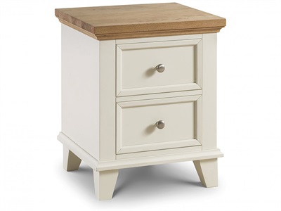 Julian Bowen Portland 2 Drawer Bedside Stone White Bedside Chest