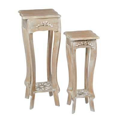 Product photograph showing Provence Plant Stand Set Of 2 Weathered Oak