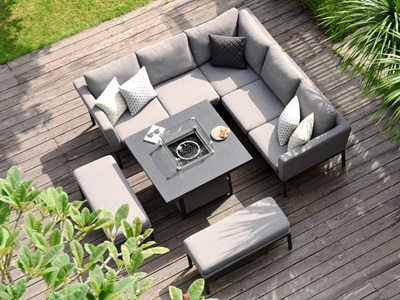 Product photograph showing Pulse Square Corner Dining Set With Fire Pit